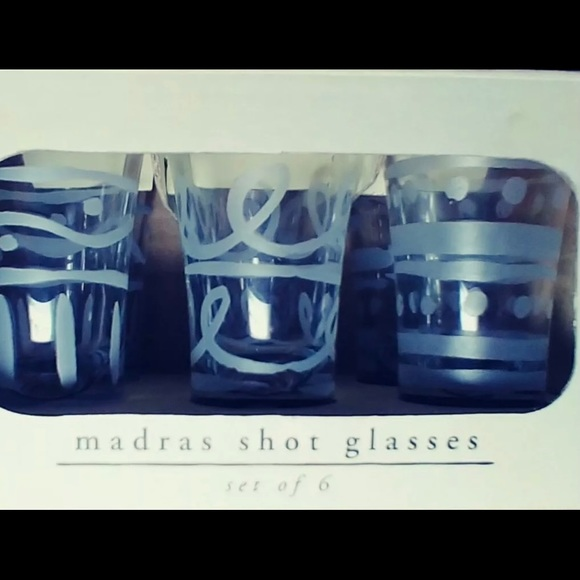 NIB Pier One Etched Glass Verres a Rasades Madras